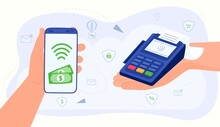 Contactless Payment, Money Transfer Vector Illustration. Cartoon Flat Hands Using Smartphone Mobile App, Paying For Shopping In Terminal, Pay With Nfc Cashless Technology Concept Isolated On White