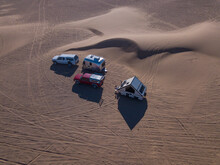 Aerial Of RV Campers Parked Ne...