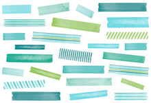 Watercolor Washi Tape. Ocean Colors; Blue, Aqua, Teal, And Green. EPS File Has Global Colors For Easy Color Changes.