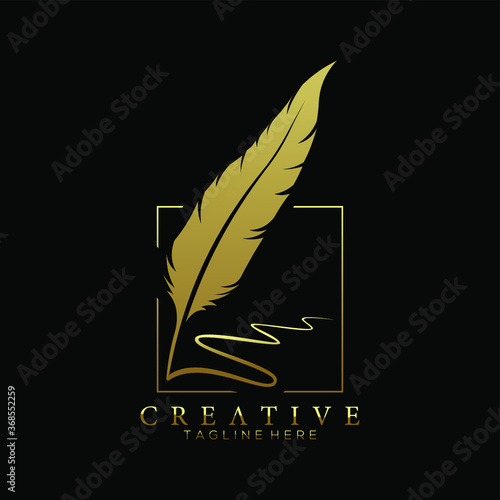 feather pen logo gold with square line vector design template Canvas Print