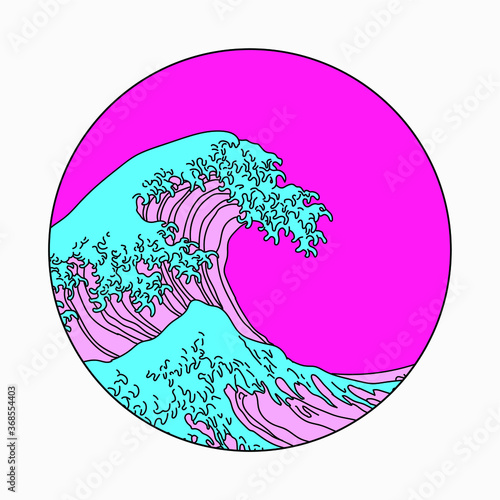 Fotografia, Obraz Great Wave off Kanagawa in Vaporwave Pop Art style