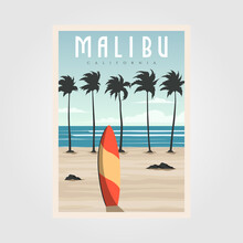Malibu California Beach Vintage Vector Illustration Design, Surf Travel Poster Template