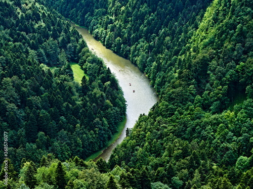The view of the Dunajec River from the top of Mount Chetezik. Pieniny National Park. Poland