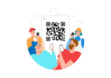 Qr Code Scanning Concept With People Scan Code Using Smartphone For Payment Flat Vector Illustration. Hand With Pnone And Scanning Barcode