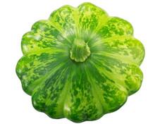Pattypan Squash (Cucurbita Pepo Fruit), Green Disk Variety, Isolated,  Top View
