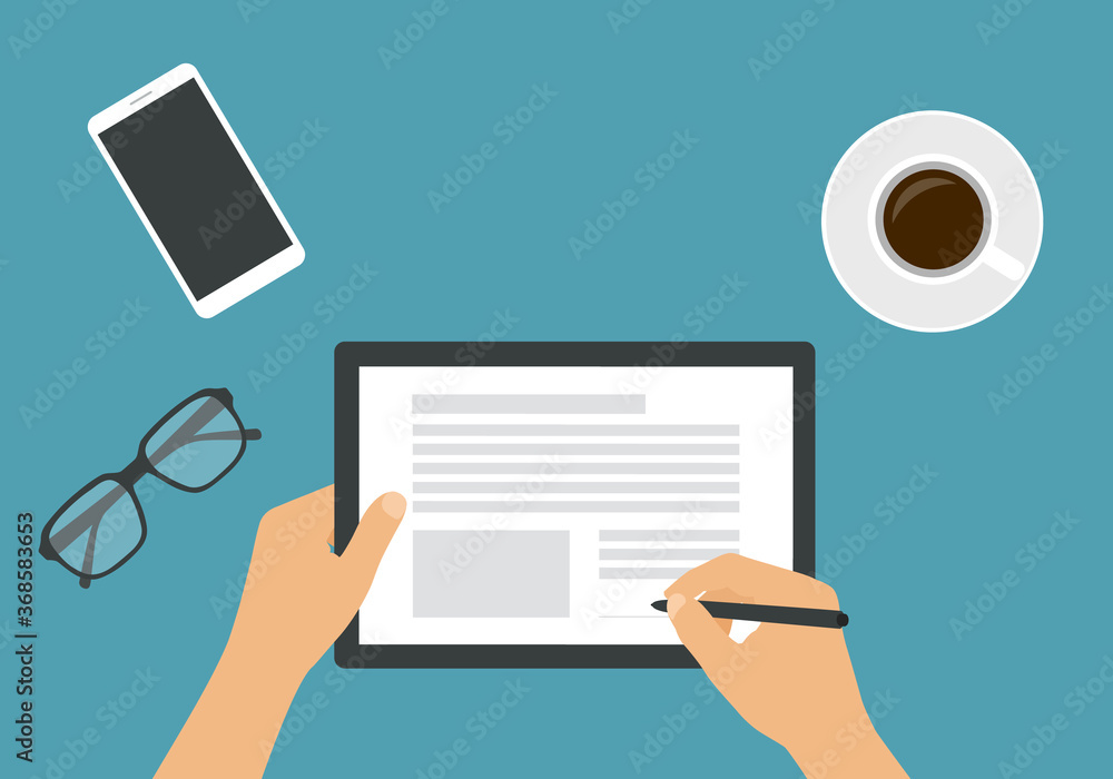 Fototapeta Flat design illustration of the hands of a man or woman holding a touch screen tablet. He signs an electronic document or contract with the stylus. Cup of coffee, mobile phone and glasses, vector
