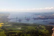 Ariel View Of The Queensferry Crossing Under Construction - Suspension Bridge.