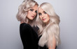 Leinwandbild Motiv Two beautiful girls with hair coloring in blond. Stylish hairstyle curls done in a beauty salon. Beauty, cosmetics and makeup