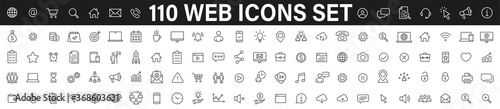 Photo Simple set of 110 Web icons thin line icons