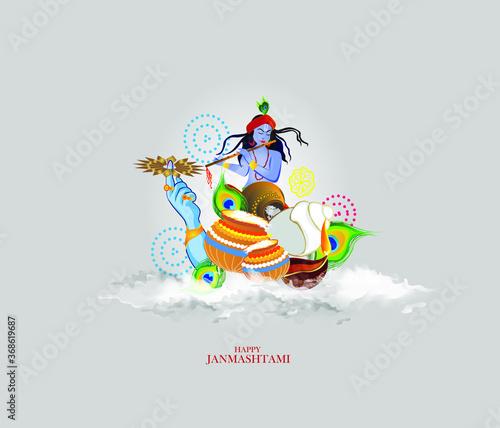 Obraz illustration of happy Janmashtami, Lord Krishna in Janmashtami festival of India - fototapety do salonu