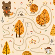 Small Bear In The Autumn Forest. Educational Game For Children. A Fun Maze For Young Children. Cartoon Vector Illustration.