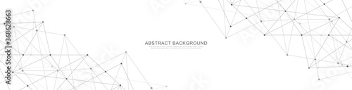 Obraz Website header or banner design with abstract geometric background and connecting dots and lines. Global network connection. Digital technology with plexus background and space for your text. - fototapety do salonu
