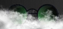 Beautiful Man Or Woman Glasses With Round Green Emerald Lenses Striking Appearance Inside The Realistic Smoke Clouds. Vector  Advertisement Illustration Isolated On The Dark Transparent Background.