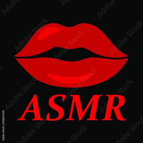 Valokuva ASMR and red lips on black background, sign for design, vector illustration