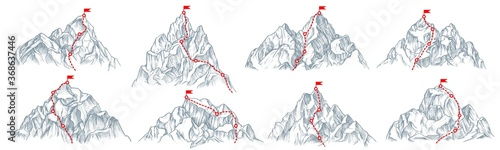 Fototapeta Mountain route set. Isolated climbing mountain route with flag on top icon collection. Mountain peak path, travel direction. Vector business success and goal concept obraz