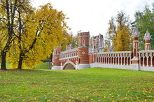 Moscow, Russia - October 12, 2018: Autumn View Of The Figured Bridge In The Tsaritsyno Museum-reserve