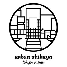 Circle Icon Line Urban Shibuya. Vector Illustration