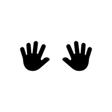 Child S Hand Prints Icon. Vect...