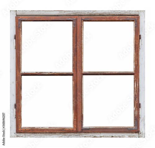 Photo Old wooden window with four pane on white background