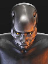 Steel Cyborg Head In Top View/ Futuristic Man 3d Rendering On Dark Background