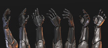 Set Of Artificial Sci-fi Robotic Arms, 3d Rendering  On Black Background In Different Poses