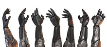 Set Of Artificial Sci-fi Robotic Arms, 3d Rendering  On White Background In Different Poses