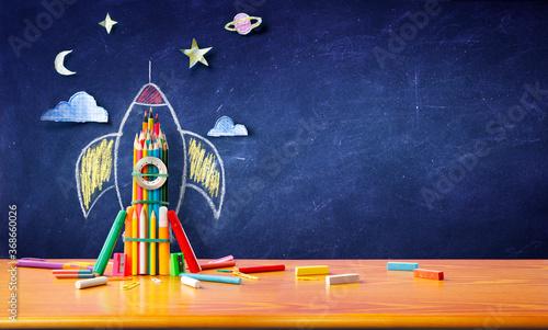 Obraz na płótnie Startup Concept - Rocket Sketch On Blackboard With Colorful Pencils - Back To Sc