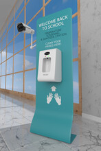 Back To School, Hand Sanitizer Station, Temperature Screening With Infrared Thermal Camera, Health Control At The Entrance, Non-touch Sanitizer