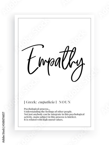 Empathy definition, Minimalist Wording Design, Wall Decor, Wall Decals Vector, F Canvas Print