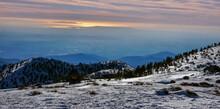 Sunset Views Of Angeles National Forest From Mount Baldy Summit, San Bernardino County, California