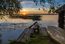 Stunning Sunset In Lahemaa National Park, Estonia,. The Largest Park In Estonia. It Was The First National Park Of The Former Soviet Union.