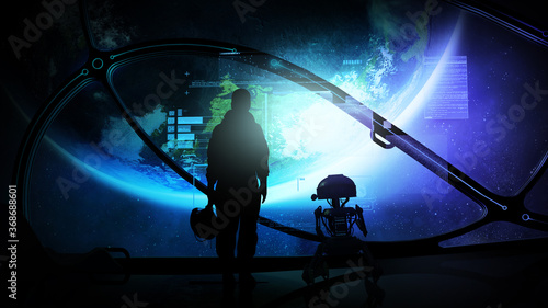 Fototapeta Astronaut with droid at the porthole of a ship in orbit of the earth