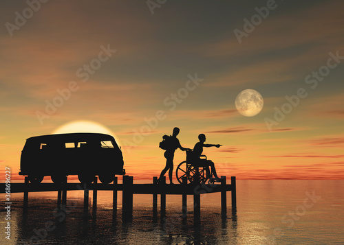 Photo Silueta de pareja joven de viajeros con handicap físico junto a su furgoneta obs