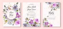 Wedding Invitation Set With Blue Purple Floral Watercolor Background