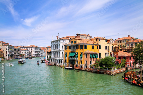 Fotografiet Houses along Grand Canal in Venice, Italy.