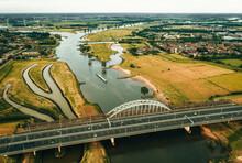 Aerial View Of A Bridge Over De Lek In Utrecht, The Netherlands.