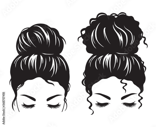 Silhouette image of a woman face with messy hair bun and long eyelashes vector illustration. #368707418