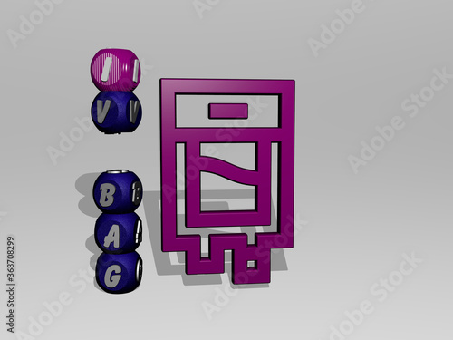 Fotografie, Obraz 3D graphical image of IV BAG vertically along with text built around the icon by metallic cubic letters from the top perspective