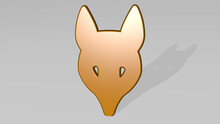 FOX MASK Made By 3D Illustration Of A Shiny Metallic Sculpture With The Shadow On Light Background. Animal And Cute