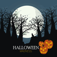 Spooky Halloween Illustration. The Wolf On The Background Of A Full Moon Over The Dark Forest. Happy Halloween Card.