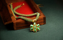 Green Beads Pendant Necklace With Wooden Box, ,  Indian Traditional Jewelry