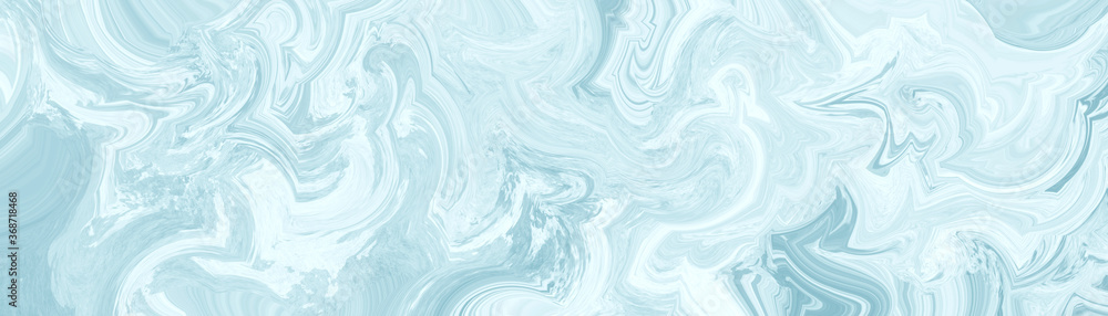 Fototapeta Abstract blue background with marbled texture pattern in elegant fancy design, wavy swirls and curled marbled pattern in detailed painted white and pastel blue stone