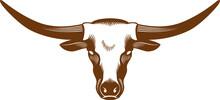 Cow Head With Long Horn Vector