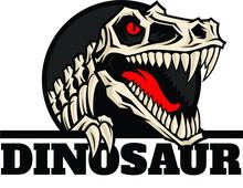 Tyrannosaurus T Rex Skeleton Logo Design
