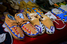 Handmade Leather Native American Indian Moccasins At A Powwow In San Francisco