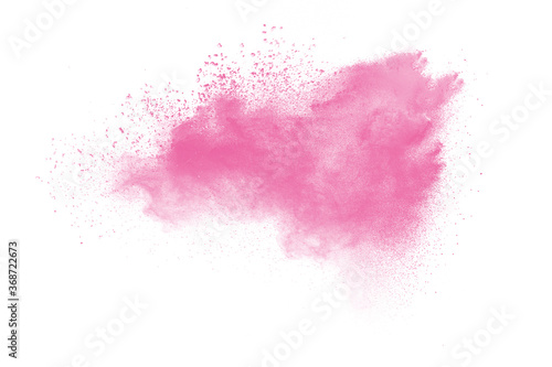 Fotografia Pink powder explosion on white background