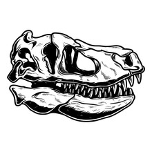 Illustration Of Skull Of Tyrannosaurus Dinosaur In Vintage Monochrome Style. Design Element For Logo, Emblem, Sign, Poster, Card, Banner. Vector Illustration