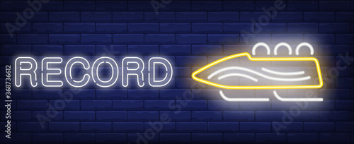 Leinwand Poster Record neon sign