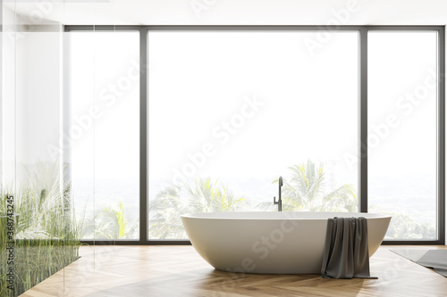 Obraz Panoramic wooden floor bathroom with tub - fototapety do salonu