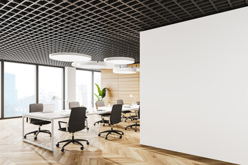 White open space office corner with mock up wall